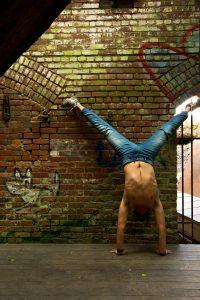 Shirtless yogi