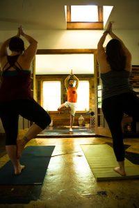 Small yoga class