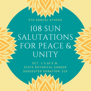 108 Sun Salutations for Peace and Unity 2017 flyer