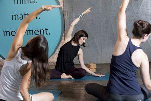 Yoga seated stretching pose