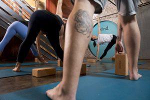 Yoga class using props