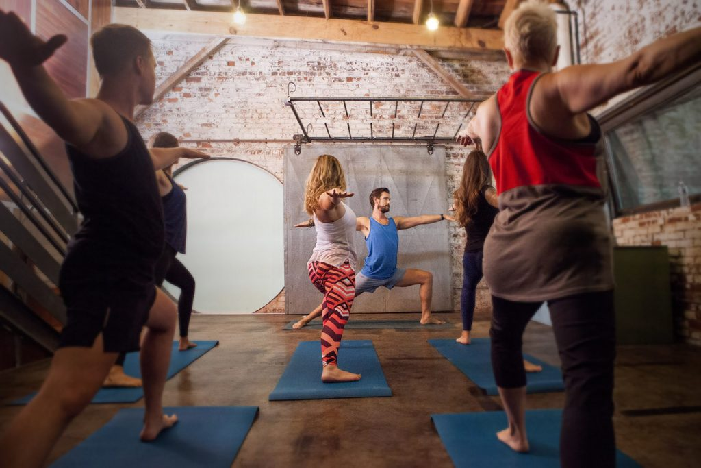 Yoga class in warehouse