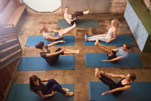 Vinyasa flow yoga class from above