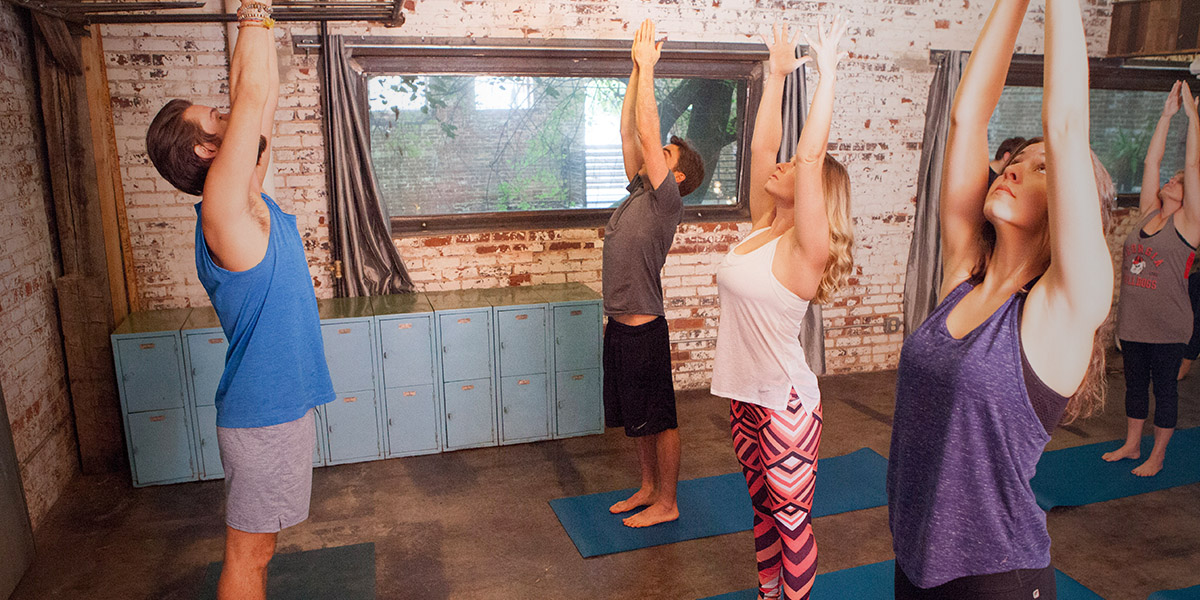 Yoga class male instructor