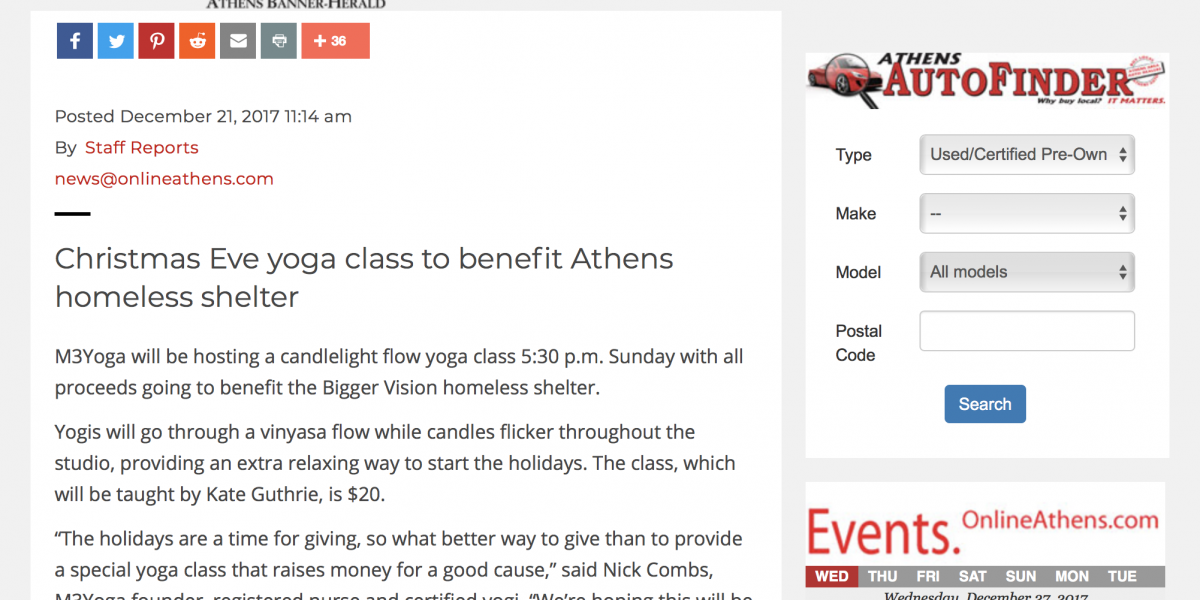 m3yoga gives back christmas